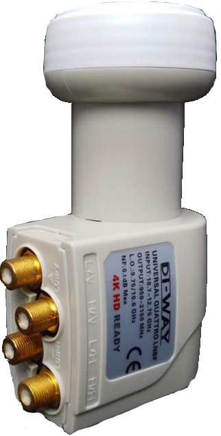 DI-WAY LNB QUATTRO 0,1dB Gold konektory F